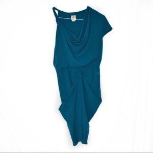 Haute Hippie Asymmetrical Teal Dress Size Small